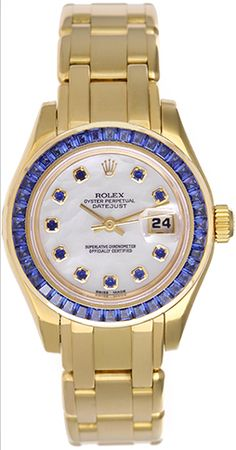 Awesome! Rolex Ladies Pearlmaster with sapphires