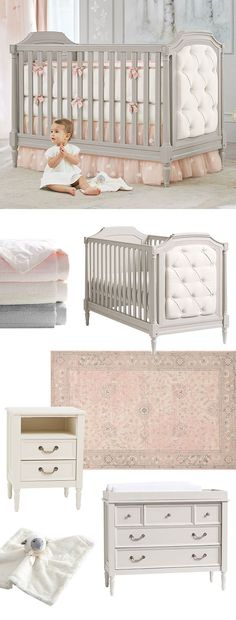 Here's what to register for to create a sweet, ethereal nursery for your little one: start with a calming palette in pink, white and gray and choose neutral furniture that fits the theme. The Blythe Collection features imaginative details like a hand-tufted upholstery and carved molding. Finish it off with supersoft bedding and a rug you can use for years to come.