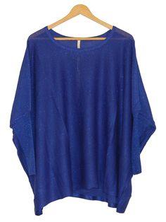 Pull femme bleu nuit / royal à paillettes. http://milena-moda.com/