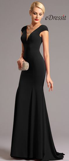 eDressit Black Cap Sleeves Plunging Neckline Formal Dress
