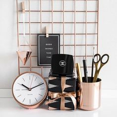 rose gold  and black decor