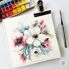 Varying my style but still using the loose technique. It amazes me when you change the way you do your brush markings, speed & even colors can make a whole new style. Also started to play around with white flowers. #dreweuropeo #calligrafikas... #watercolorarts