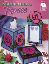 Stained Glass Roses, Coasters Tissue & More Annie's plastic canvas pattern book Plastic Canvas Books, Plastic Canvas Coasters, Plastic Canvas Tissue Boxes, Plastic Canvas Crafts, Plastic Canvas Patterns, Pots, Tissue Box Covers, Cross Stitch Flowers, Pattern Books