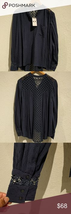 FREE PEOPLE BOHO SHIRT WITH A CROCHET LACE INSET This is a beautiful Free people flowy Boho shirt with crochet lace insets. Free People Tops Blouses