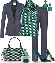 I like the green and navy blue together and the idea of a patterned blouse to give flavor to matching pieces.