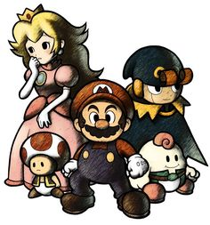 Super Mario RPG - Princess Peach, Toad, Mario, Mallow, and Geno Super Mario Brothers, Geno Super Mario Rpg, Super Mario Kunst, Super Mario Art, Super Mario World, Mario And Luigi, Mario Bros, Viewtiful Joe, Nintendo Characters