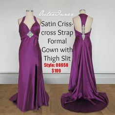 OI Daily Dress ($109/83,93€/£73.03) Super glamorous & sleek purple formal gown! Like it?Shop here:http://www.outerinner.com/stretch-satin-crisscross-back-applique-detail-formal-dress-pd-08658-0.html #dailydress #formalgowns #outerinner