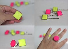 DIY Neon Clay Statement Ring