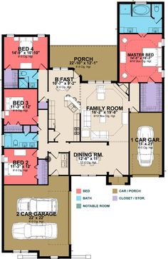 One Level House Plan with Secluded Master Suite - floor plan - Main Level One Level House Plans, Dream House Plans, House Floor Plans, My Dream Home, Master Suite, Building A Container Home, Large Family Rooms, Architecture Plan, Residential Architecture