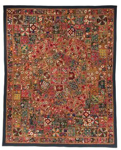 Godadi quilt, possibly made in Jodhpur, Rajasthan, India, circa 1950-2000, 94.75 x 75.5 in. Similar to a Western crazy quilt, this quilt was made from cut-up pieces of embroidered and embellished fabrics.