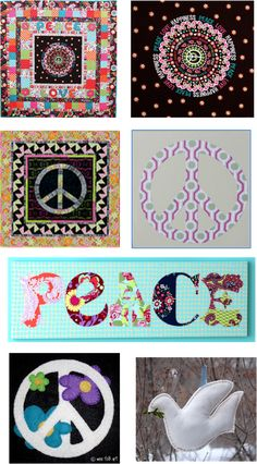 Quilt Inspiration: PEACE and LOVE -- find the patterns at www.quiltinspiration.blogspot.com