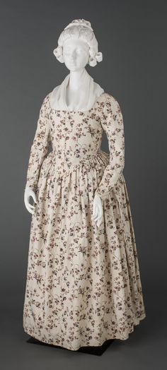 Textiles (Clothing) - Dress, 1785-1795 (You can absolutely make this with my Ladies' 1780s Portrait Dress pattern - http://sensibility.com)