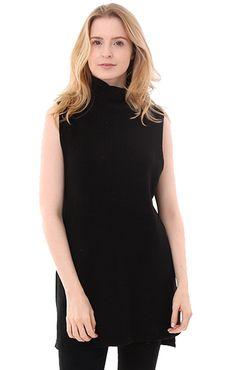 Fall 2016 Clothing trends 525 America Sweaters Black  Tunic Sleeveless Maya Sweater
