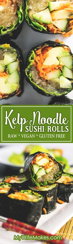 Raw Sushi Rolls filled with Kelp Noodles, Avocado, Cucumber and Carrot, served with a Tahini Soy Dipping Sauce