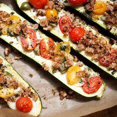 Zucchini Boats with Mozzarella & Olives
