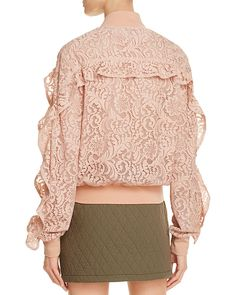 A softer, delightfully feminine spin on the must-have bomber jacket, this Only Ours style from Bcbgmaxazria features of-the-moment ruffles and the most coveted color of the season. Diy Clothes, Clothes For Women, Sport Chic, Hijab Outfit, Blazer Jacket, Lace Dress, Cute Outfits, Street Style, Powder Pink