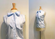 Vintage Pale Blue Sleeveless Ascot Bow Blouse
