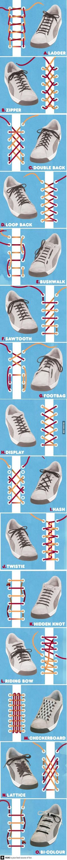 The best DIY projects & DIY ideas and tutorials: sewing, paper craft, DIY. Ideas About DIY Life Hacks & Crafts 2017 / 2018 Who knew there were so many different ways to tie your shoes? Ways To Tie Shoelaces, Your Shoes, Good To Know, Just In Case, Helpful Hints, Life Hacks, Techno, Diy Projects, Mens Fashion
