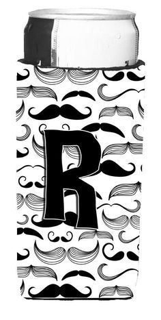 Letter R Moustache Initial Ultra Beverage Insulators for slim cans CJ2009-RMUK