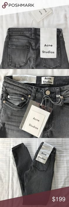 Acne Studios Skin 5 Coal Jeans •Acne Studios Skin 5 coal jeans features a classic five pocket design and a super skinny fit. This style is constructed of a super stretch denim with a black warp and weft, dyed using a newly developed technique with an indigo effect, washed to a light grey with natural fade marks.  •Size 25, true to size.  •New with tag.  •NO TRADES/HOLDS/PAYPAL/MERC/VINTED/NONSENSE. Acne Jeans Skinny