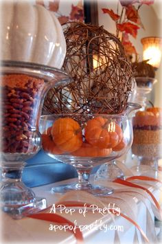 Fall Mantel using beans/lentils for color - very clever!