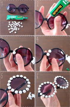 DIY Embellished Sunglasses With Pearls projekte aufbewahrung 15 Ways to Make Cool DIY Embellished Sunglasses - Pretty Designs Diy Tumblr, Cool Diy, Easy Diy, Karneval Diy, Diy Fashion Projects, Cute Sunglasses, Sunnies, Pretty Designs, Tumblr Outfits