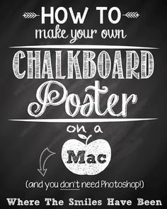 How To Make Your Own Chalkboard Poster on a Mac (and you don't need Photoshop! I never knew my Mac could do all that! Make Your Own, Make It Yourself, How To Make, Free Dingbat Fonts, Chalkboard Fonts, Chalkboard Ideas, Chalk Fonts, Chalkboard Writing, Chalk Lettering