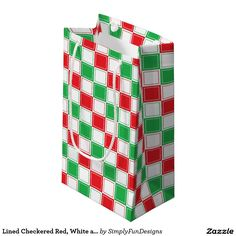 Lined Checkered Red, White and Green Small Gift Bag