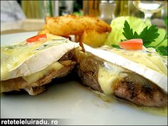 Juicy pork loin with caramelized onion & cambozzola cheese