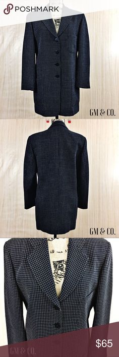 """🆑SALE🆑 Giorgio Armani Le Collezioni Blazer 🆑SALE🆑 Gorgeous Vintage Giorgio Armani Le Collezioni Blazer. Excellent, like new condition. Worn once. Dark Navy with tan check piping. 1 breast pocket and 2 hip pockets. 4 button closure. Made in Italy. Fully lined in Navy-Fabric lining- 83% Acetate 27% Rayon. Shell fabric- 💯 Wool.   Measurements: Sleeve length- 22"""" Bust- 20"""" Blazer length- 31""""  Thank you for stopping by my closet. Please let me know if you have any questions. :-) GM Giorgio…"""