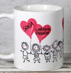 Erzieherin und Kindergärtnerin Abschieds-Dankeschön-Tasse **weltbeste Erzieherin** mit individueller Personalisierung von _My-SweetHeart®_ Die lustige Keramiktasse eignet sich super als...