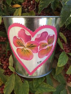 Vaso de zinco,  pintado (amor perfeito)