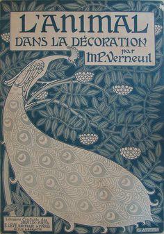 """illustration française : couverture de livre, """"L'animal dans la décoration"""",1897, Maurice Pillard Verneuil, paon, oiseaux, animaux, bleu"""