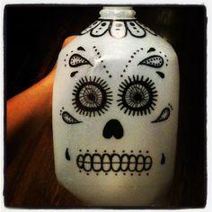 Milk jug day of the dead lanterns. La dia de los muertos. #diy #milkjugs