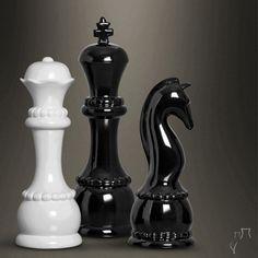 Para os amantes de jogo de xadrez decorar o ambiente com algumas peças do tabuleiro é puro estilo.