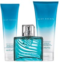 Blue Escape for Him 3-Piece Fragrance Collection - The temptation of fresh ocean mist, white pepper, tropical driftwood and sensual musk. Collection includes: After Shave Conditioner 3.4 fl. oz., Hair & Body Wash 6.7 fl. oz., and Eau de Toilette Spray 2.5 fl. oz. Regularly $16.99, buy Avon cologne online at http://eseagren.avonrepresentative.com