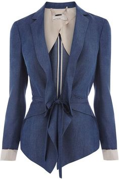 Drawstring Waist Tailored Blue Jacket, £175 by Karen Millen- Perfect top for my next Race day at Keeneland