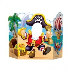 1 large pirate photo prop.Great fun and easy to use - your child simply pops their head through the hole and you take the picture!This prop is made from cardboard and has three sides so it can stand upright on a table or on the floor.Take a picture of each of your party guests then send it to them after the party is finished as a awesome thank you gift.Prop measures 94cm x 64cm.
