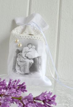 Vintage inspired fabric  gift bag shabby chic mother child image lace sachet bag-Granny Hannas Cottage