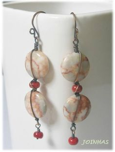 Copper+wire+wrapped+earrings+with+red+line+marble+and+by+JOINHAS,+$15.00
