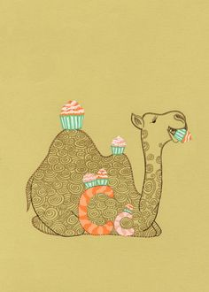 Camel Eating Cupcakes. Children alphabet book illustration. Baby wall decor. Nursery room art.  Baby Shower. 5x7 print