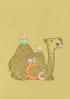 Camel Eating Cupcakes. Children alphabet book illustration. Baby wall decor. Nursery room art.  Baby Shower. 5x7 print