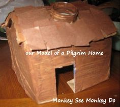 Make a model pilgrim home, compare it to the model wigwam that was made - Measured in Moments: First Thanksgiving Homes (Thanksgiving craft)