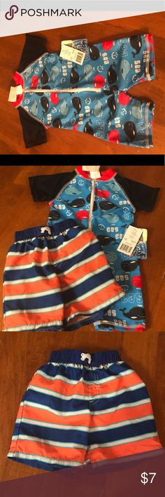 Little Boys bathing suits Swim trunks and body suit(NWT) Swim