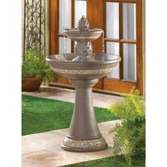 Mosaic Courtyard Garden Water Fountain - This impressive Mosaic Courtyard Garden Water Fountain gives your garden the instant grandeur of a palace courtyard! Graceful faux granite columns and bowls feature a stylish mosaic-look trim; sculpted pineapples add a stately welcoming touch.