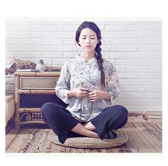 874c514e25a0d8 Free Shipping - Blue Floral Zen Clothes for Meditation, Yoga, Tai Chi,  Casual Wear
