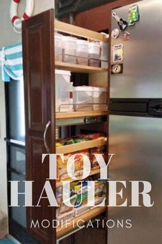 The people who live in it! Your home-on-wheels should be the same - add some flare and your own personalization to make your toy hauler fit for YOU! Toy Hauler Camper, Camper Storage, Camper Life, Rv Life, Rv Living, Tiny Living, Luxury Fifth Wheel, Fifth Wheel Toy Haulers, Kitchen Storage Units