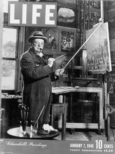 """Life Magazine Cover: """"England's Prime Minister Winston Churchill Painting a Picture"""" (January British History, Art History, Magazine Front Cover, Magazine Covers, Magazine Photos, Churchill Paintings, Life Cover, Winston Churchill, Churchill Quotes"""