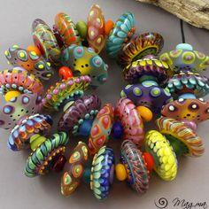 Magma Beads ~Party disks~ Handmade Lampwork Beads. #Lampwork