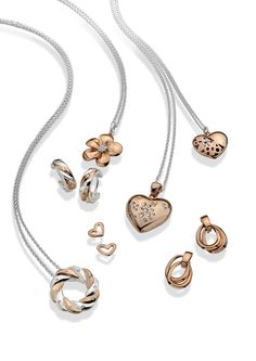 ORDER NOW FROM WILKINS JEWELLERS - Beautiful sterling silver & rose plated pentants and earrings. #silver #stylish #love! UK Jewellery Manufacturer